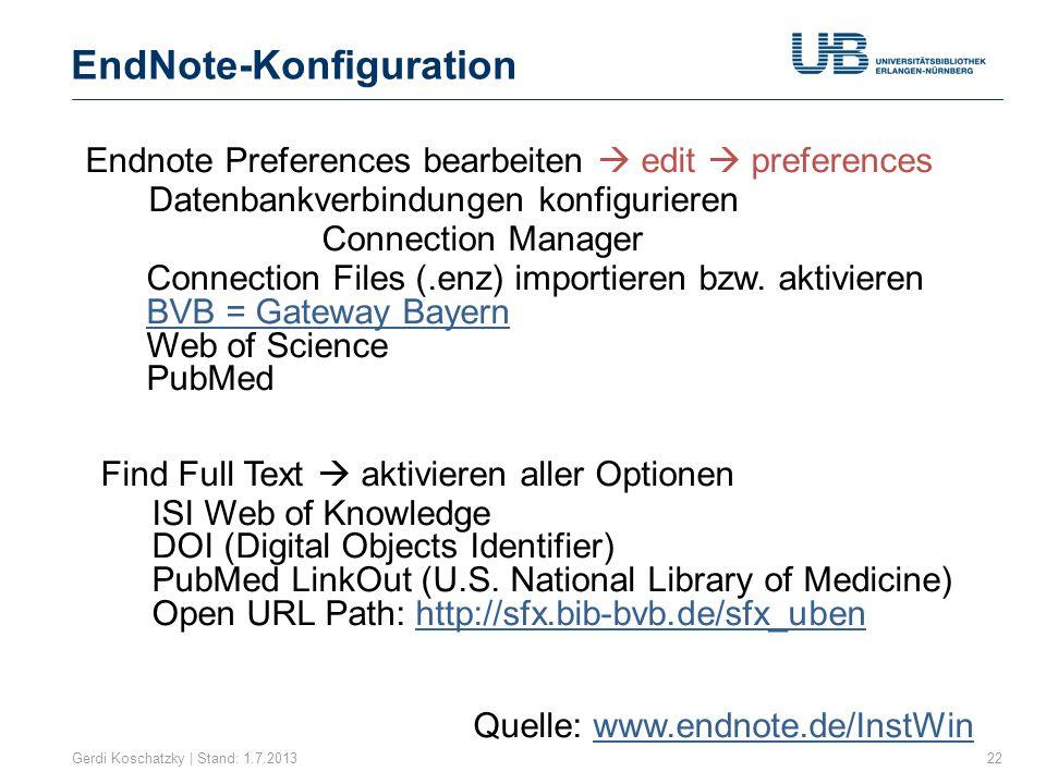 EndNote-Konfiguration