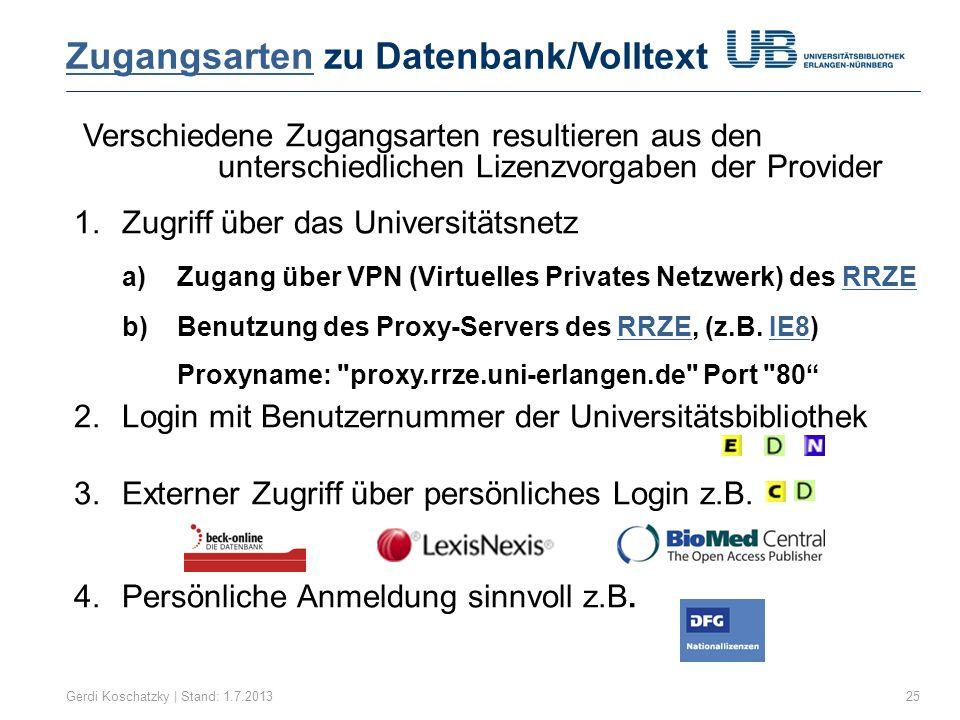 Zugangsarten zu Datenbank/Volltext