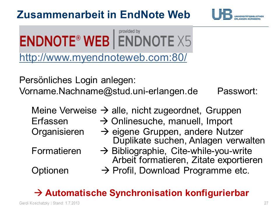 Zusammenarbeit in EndNote Web