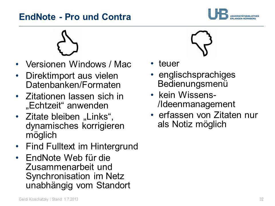 EndNote - Pro und Contra
