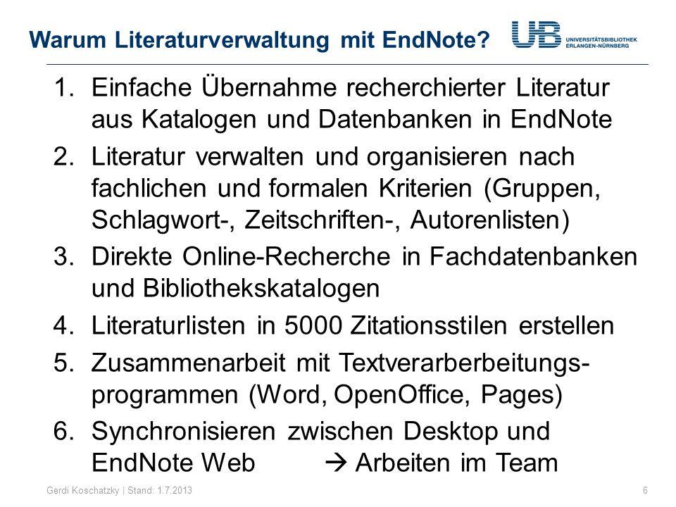 Warum Literaturverwaltung mit EndNote