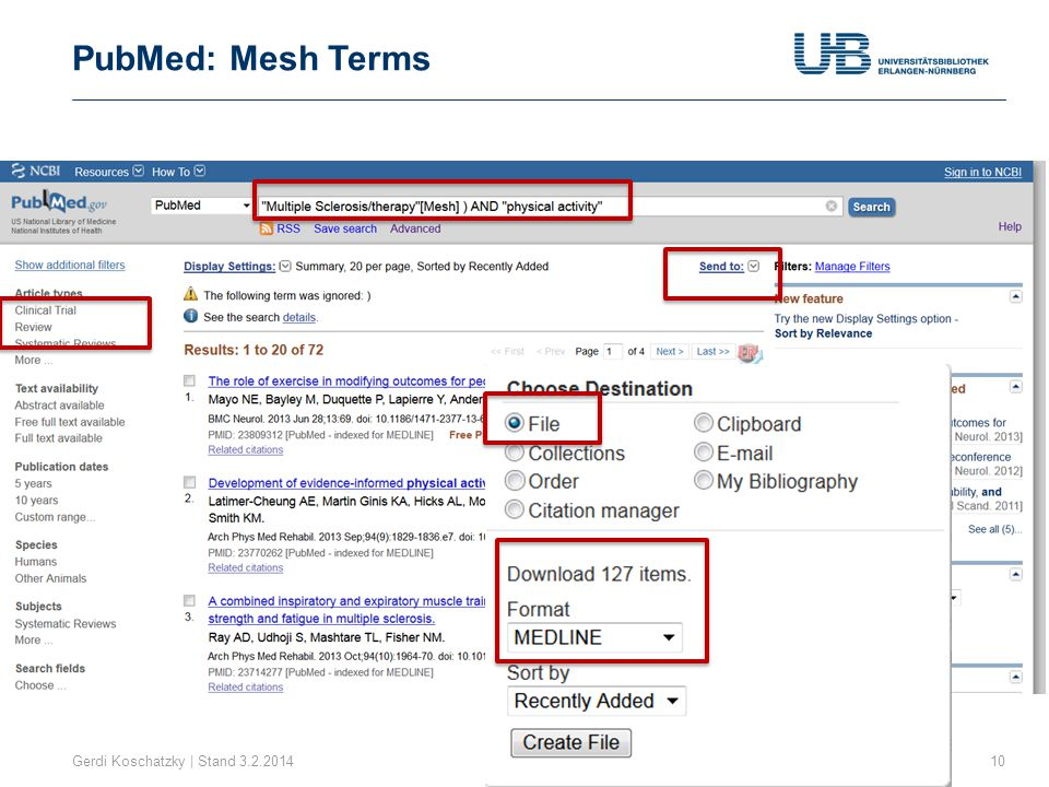 PubMed: Mesh Terms Gerdi Koschatzky | Stand 3.2.2014