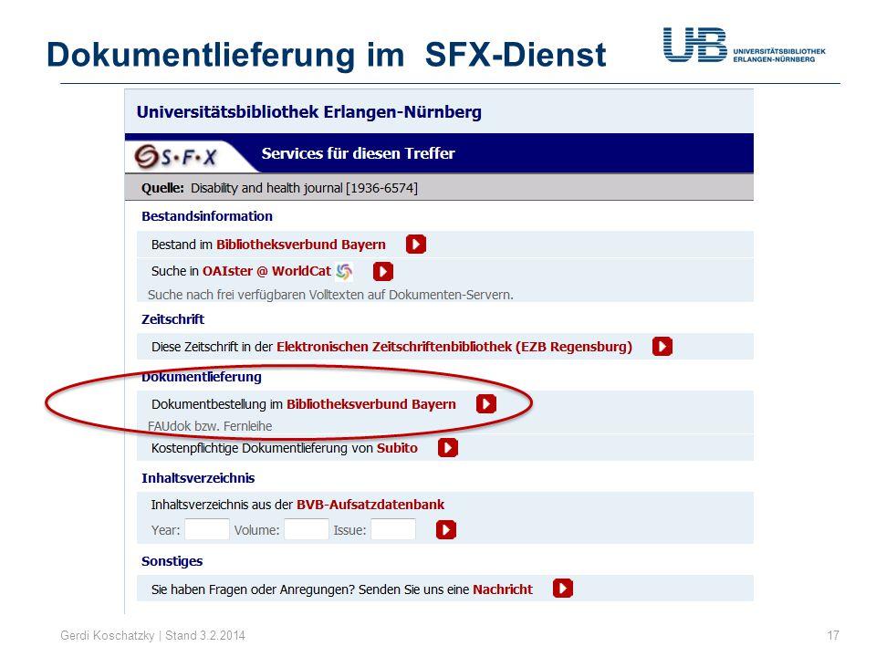 Dokumentlieferung im SFX-Dienst