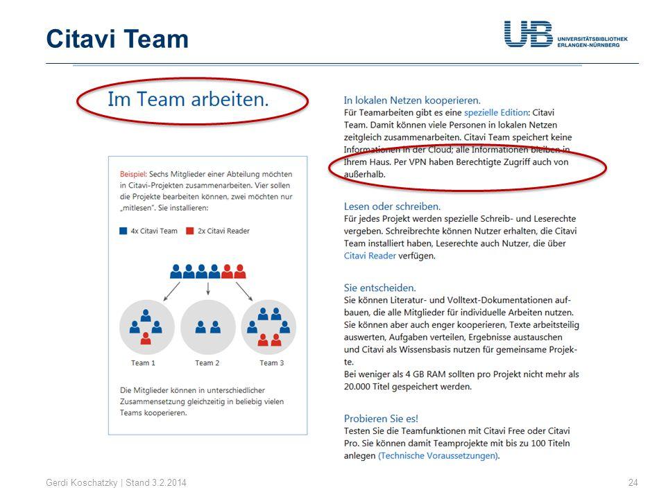 Citavi Team Gerdi Koschatzky | Stand 3.2.2014