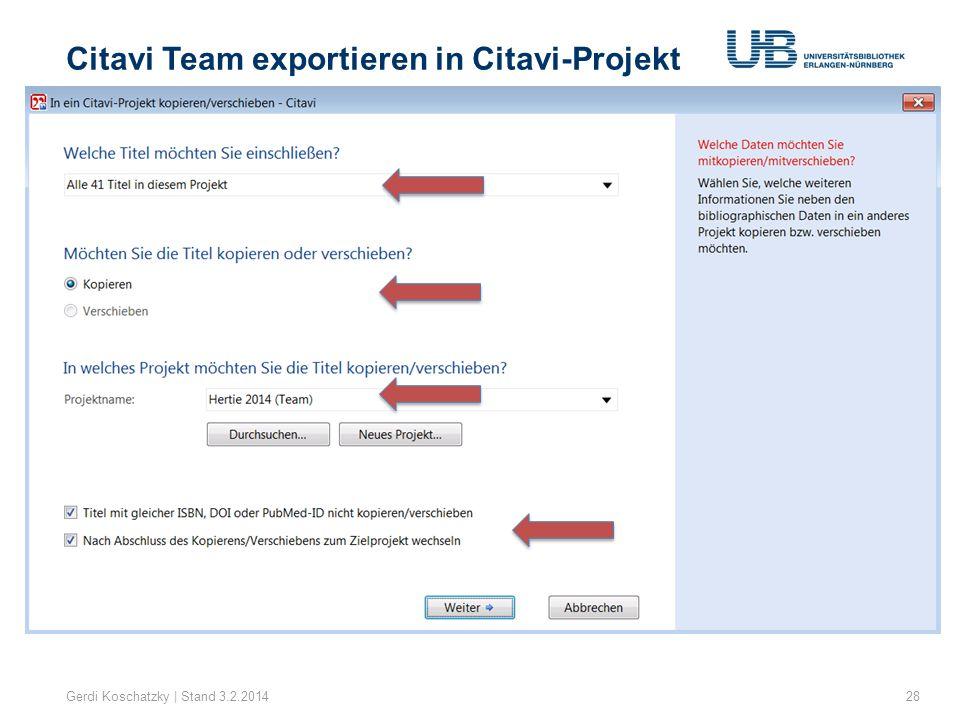 Citavi Team exportieren in Citavi-Projekt
