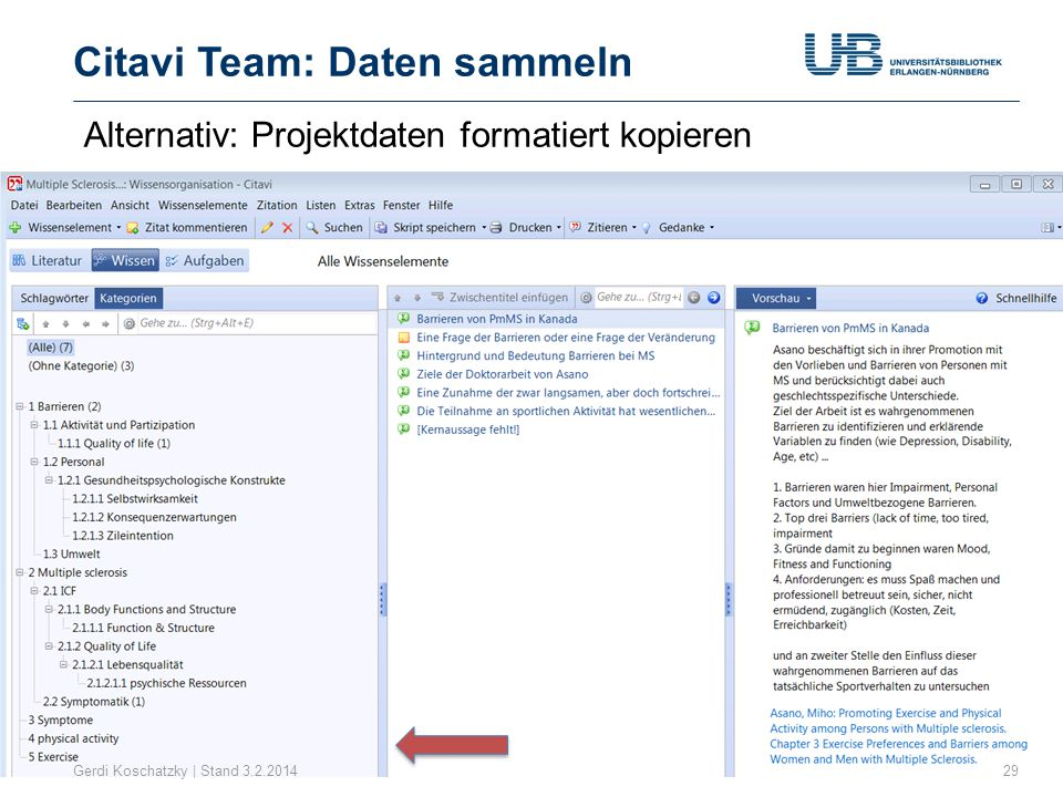 Citavi Team: Daten sammeln