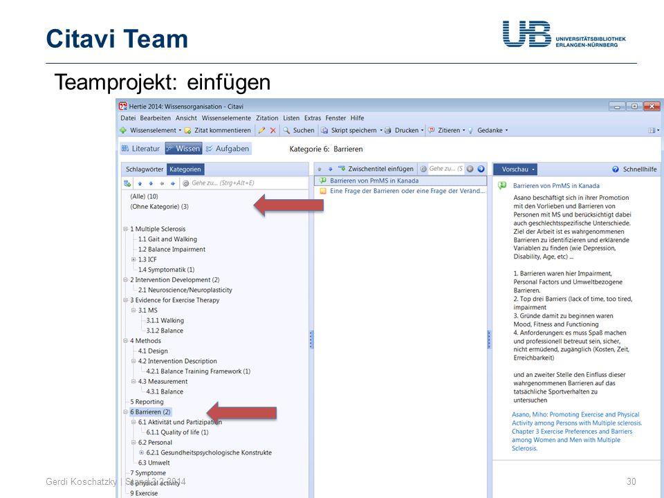 Citavi Team Teamprojekt: einfügen Gerdi Koschatzky | Stand 3.2.2014