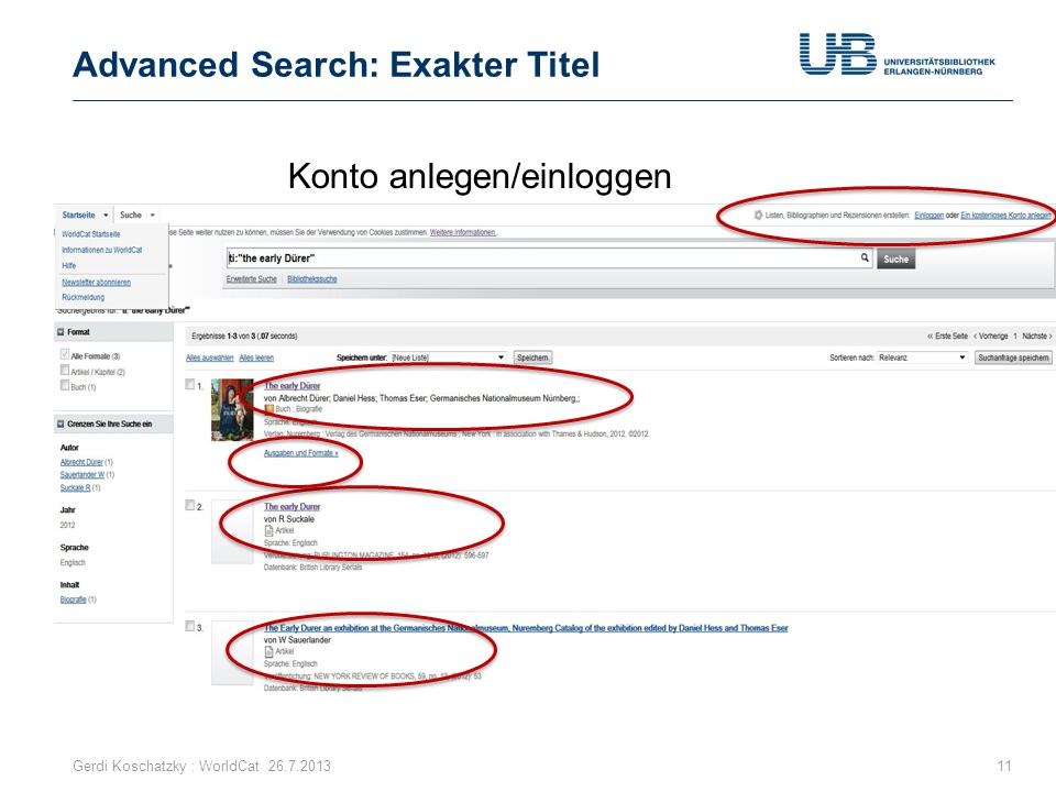 Advanced Search: Exakter Titel