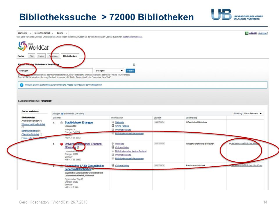 Bibliothekssuche > 72000 Bibliotheken