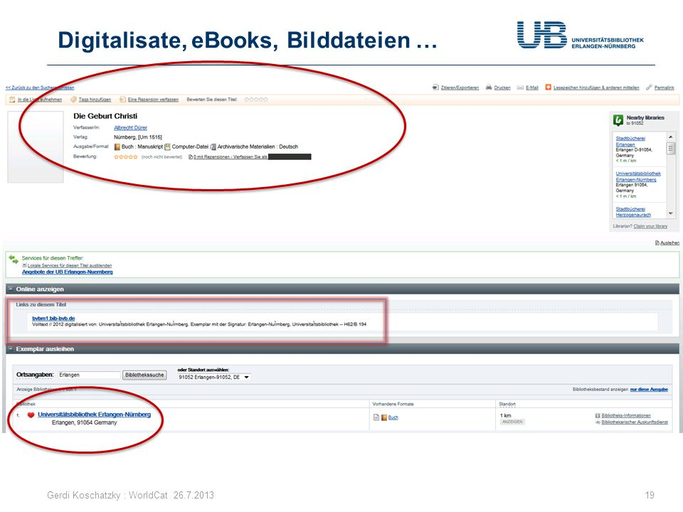 Digitalisate, eBooks, Bilddateien …