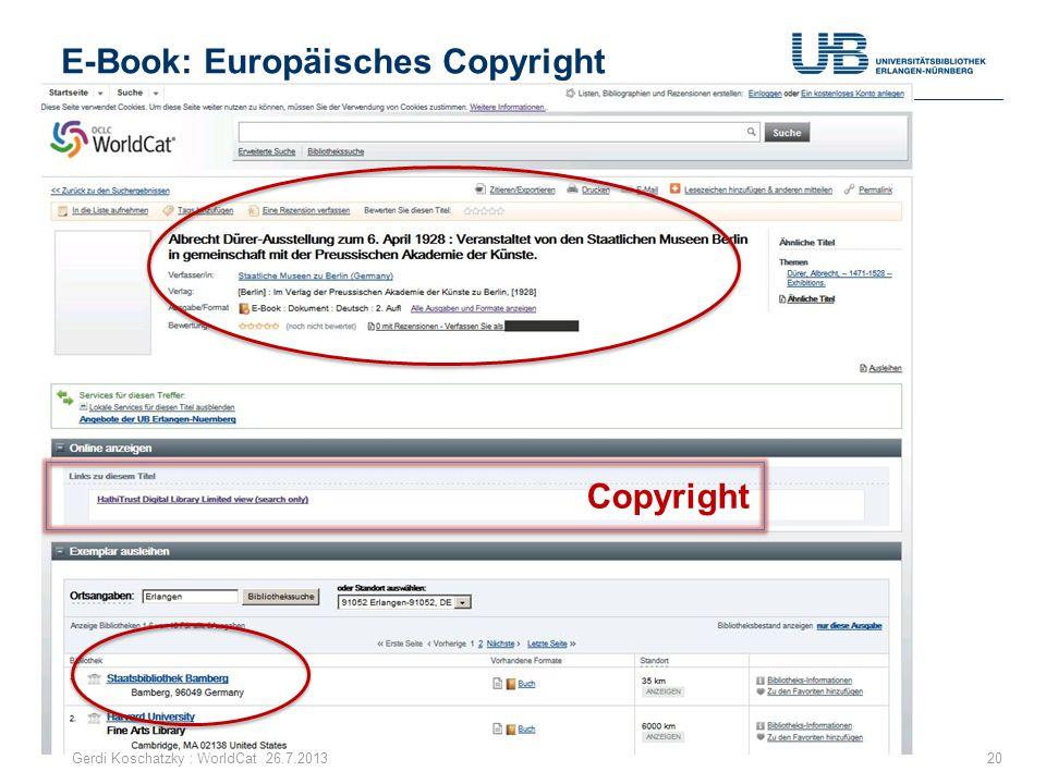 E-Book: Europäisches Copyright