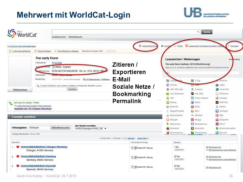 Mehrwert mit WorldCat-Login
