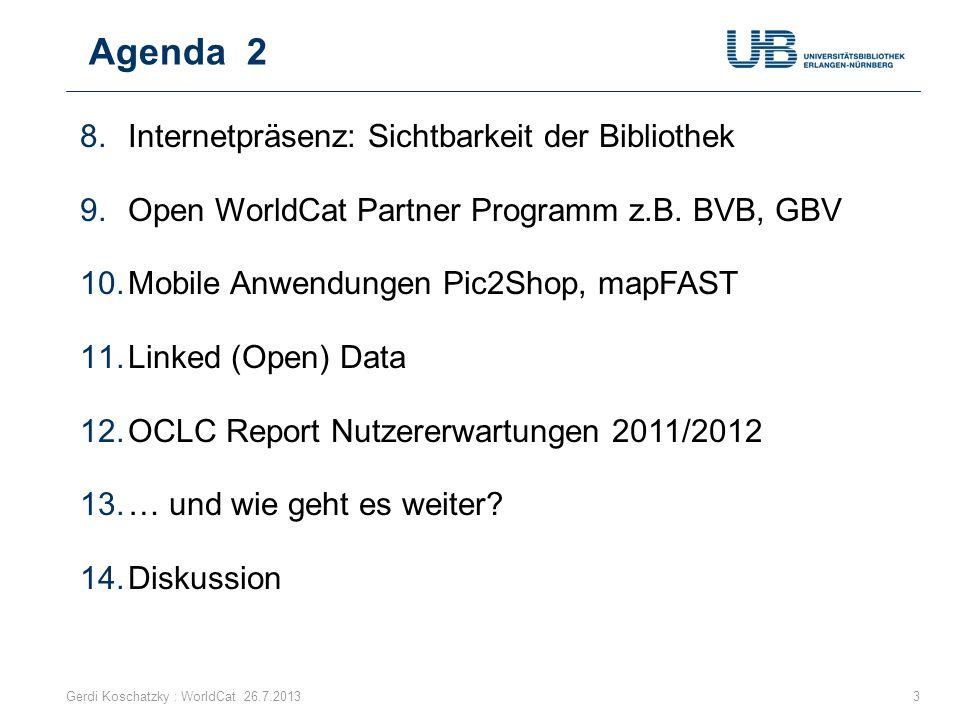 Agenda 2 Internetpräsenz: Sichtbarkeit der Bibliothek