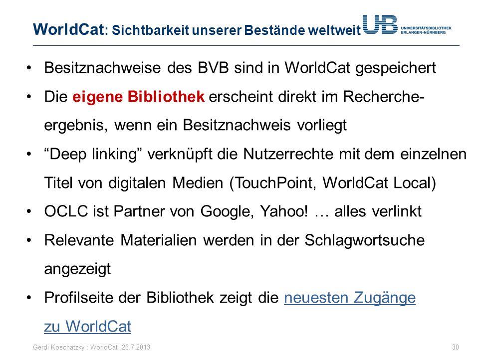 WorldCat: Sichtbarkeit unserer Bestände weltweit