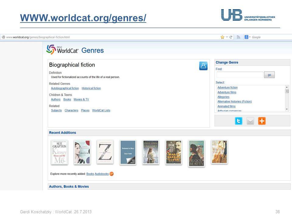 WWW.worldcat.org/genres/ Gerdi Koschatzky : WorldCat 26.7.2013