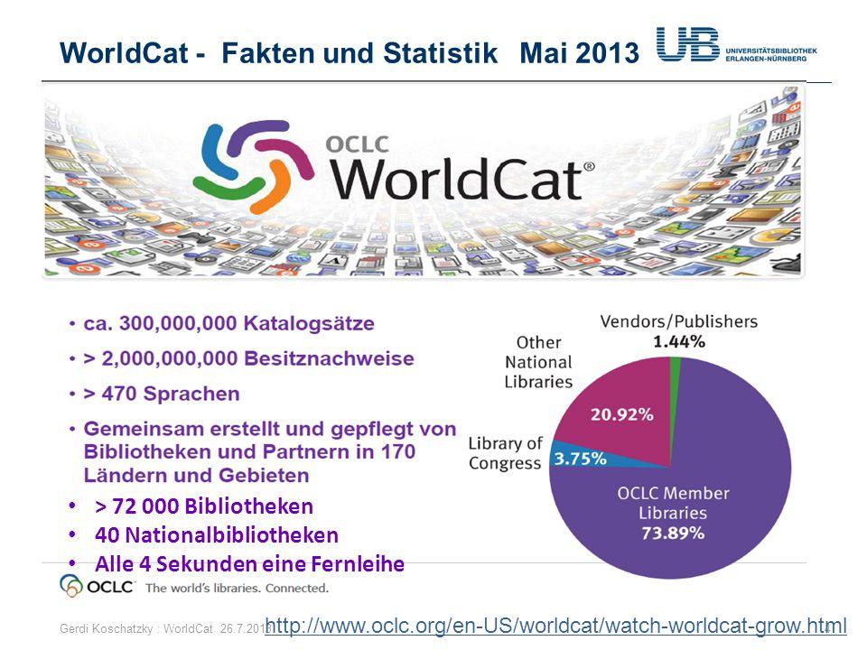 WorldCat - Fakten und Statistik Mai 2013