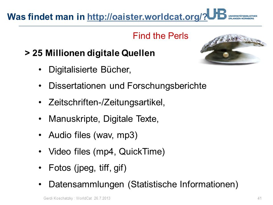 Was findet man in http://oaister.worldcat.org/