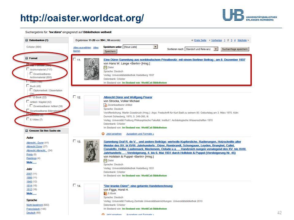 http://oaister.worldcat.org/ Gerdi Koschatzky : WorldCat 26.7.2013