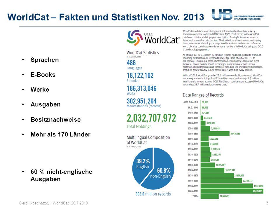 WorldCat – Fakten und Statistiken Nov. 2013