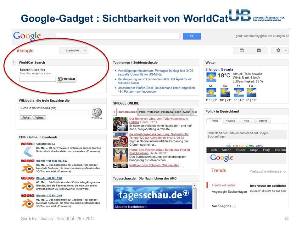 Google-Gadget : Sichtbarkeit von WorldCat