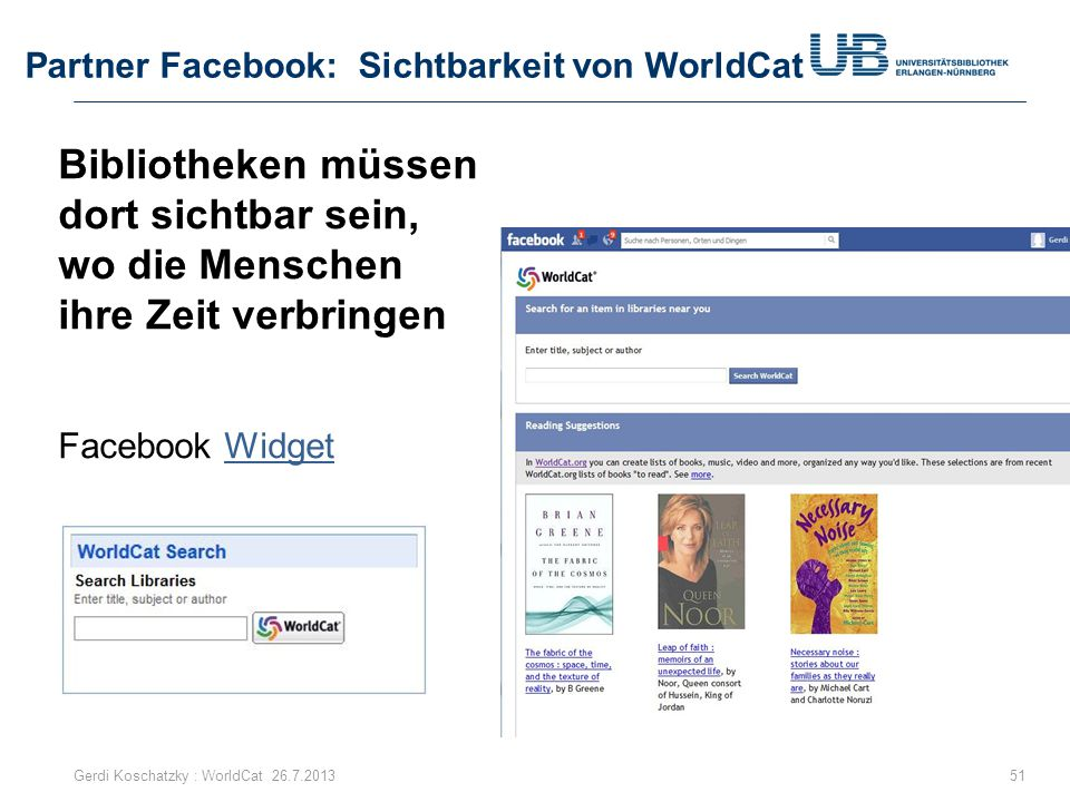 Partner Facebook: Sichtbarkeit von WorldCat