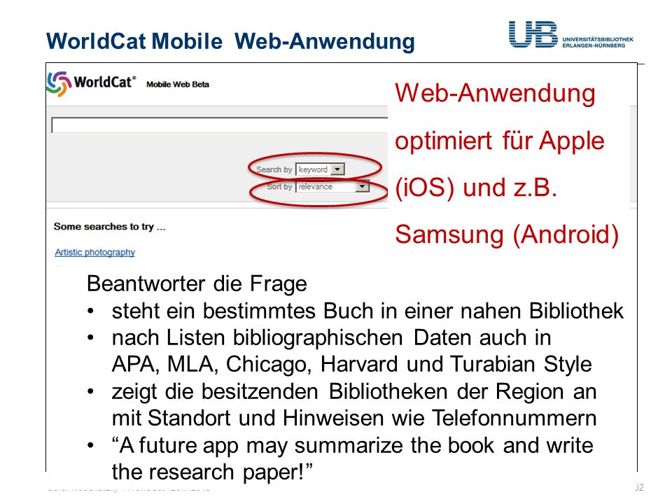 WorldCat Mobile Web-Anwendung