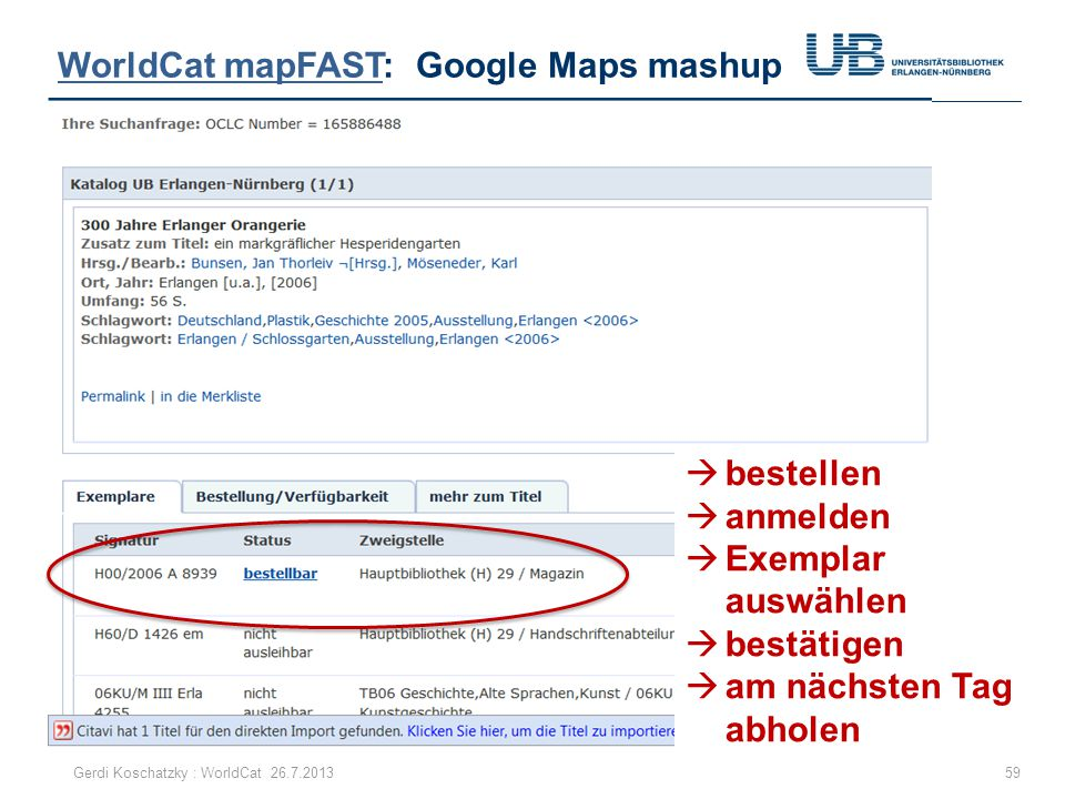 WorldCat mapFAST: Google Maps mashup