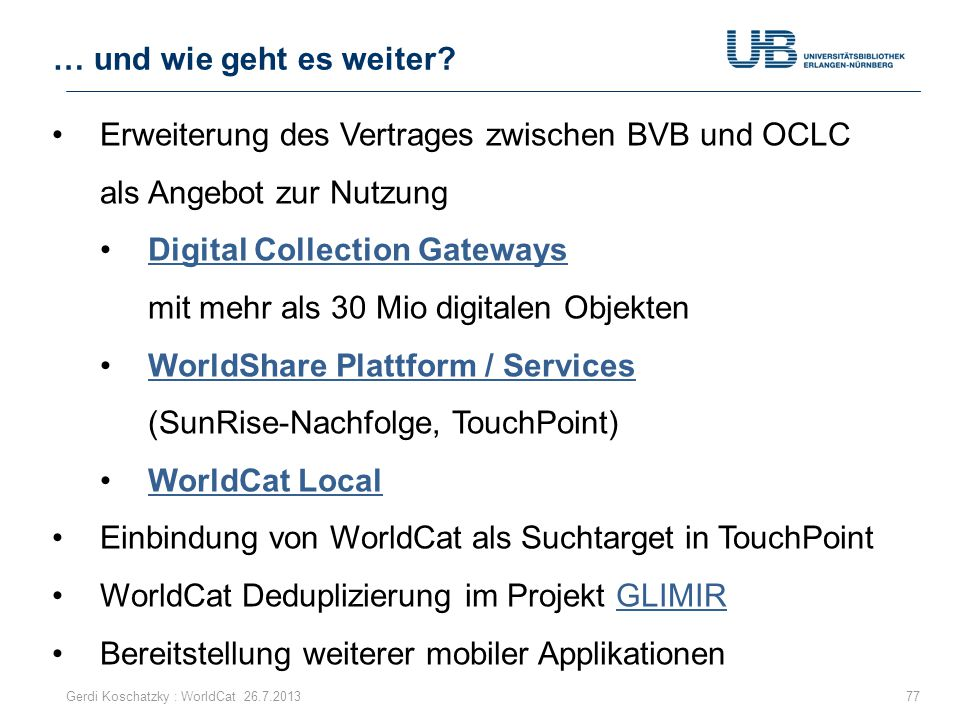 Digital Collection Gateways mit mehr als 30 Mio digitalen Objekten