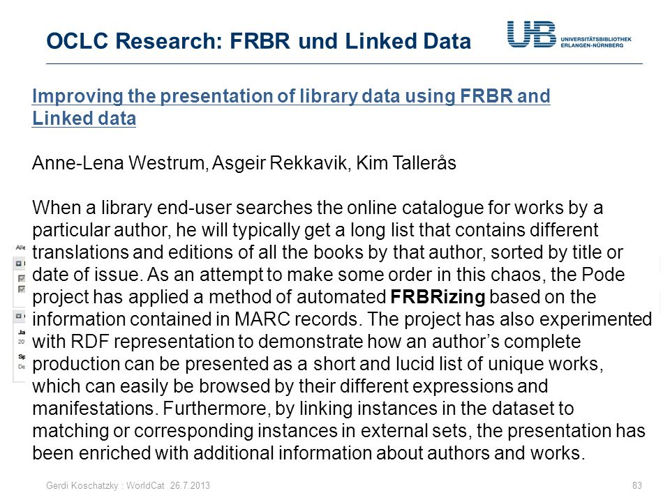 OCLC Research: FRBR und Linked Data