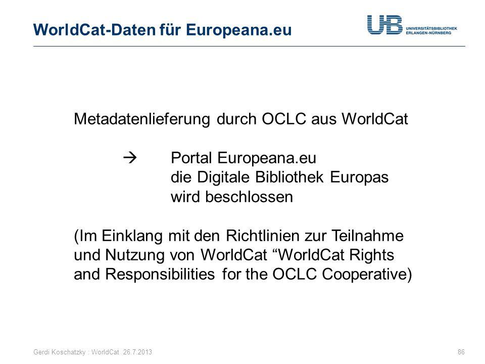 WorldCat-Daten für Europeana.eu