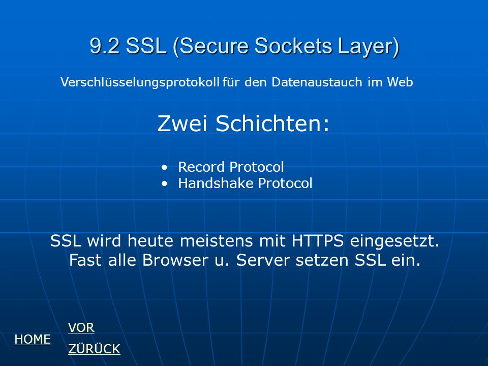 9.2 SSL (Secure Sockets Layer)