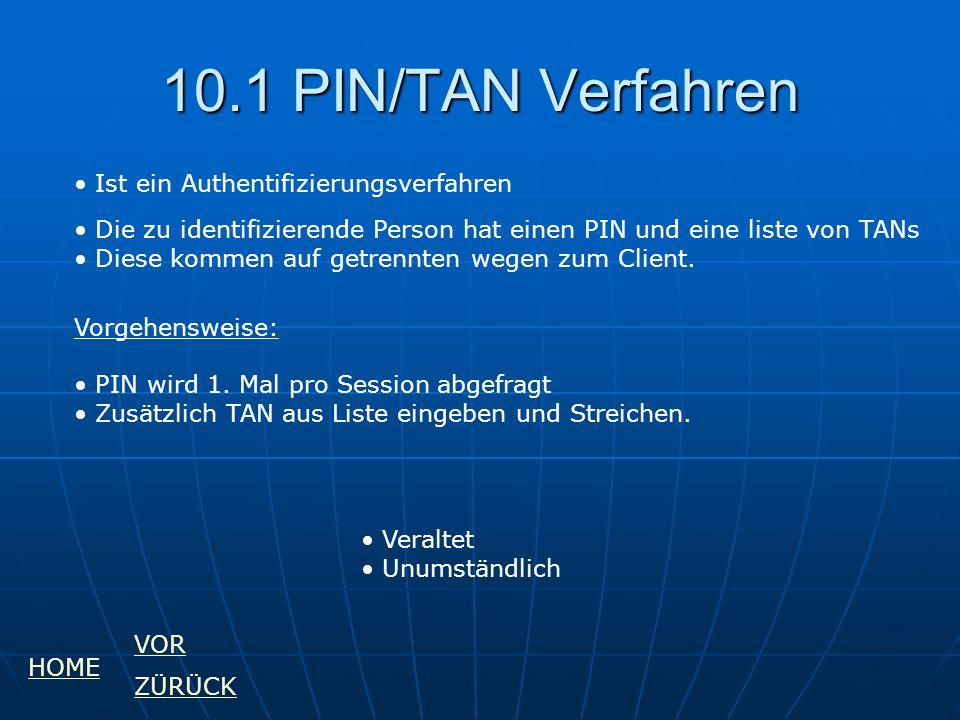 10.1 PIN/TAN Verfahren Ist ein Authentifizierungsverfahren