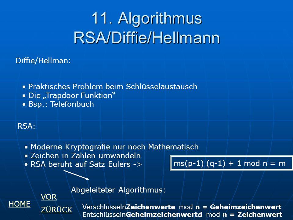 11. Algorithmus RSA/Diffie/Hellmann