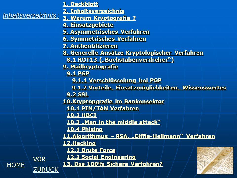 Inhaltsverzeichnis : VOR HOME ZÜRÜCK 1. Deckblatt