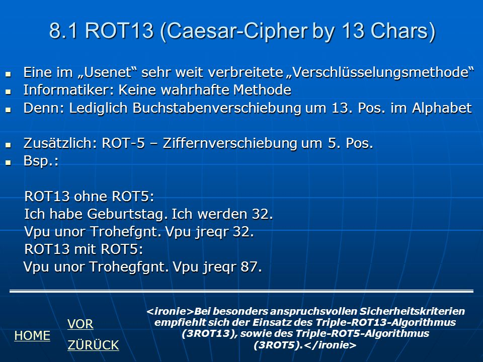 8.1 ROT13 (Caesar-Cipher by 13 Chars)
