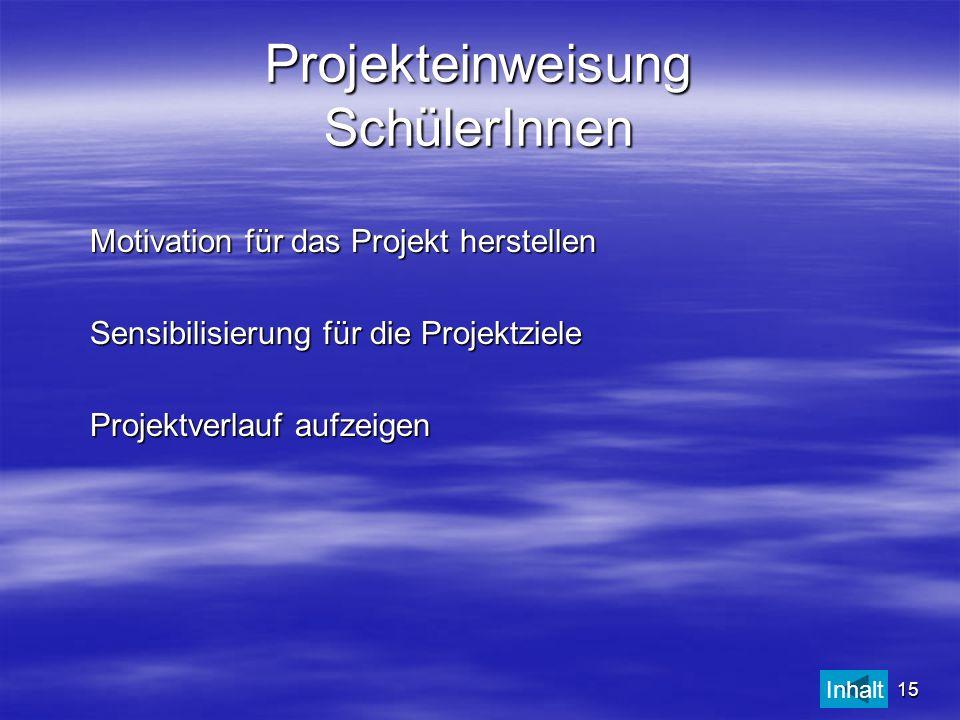 Projekteinweisung SchülerInnen