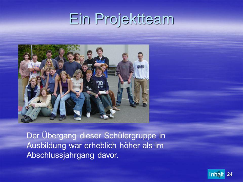 Ein Projektteam Der Übergang dieser Schülergruppe in Ausbildung war erheblich höher als im Abschlussjahrgang davor.