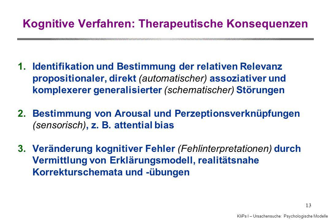 Kognitive Verfahren: Therapeutische Konsequenzen