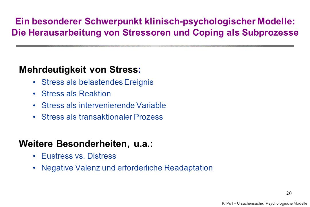 Mehrdeutigkeit von Stress: