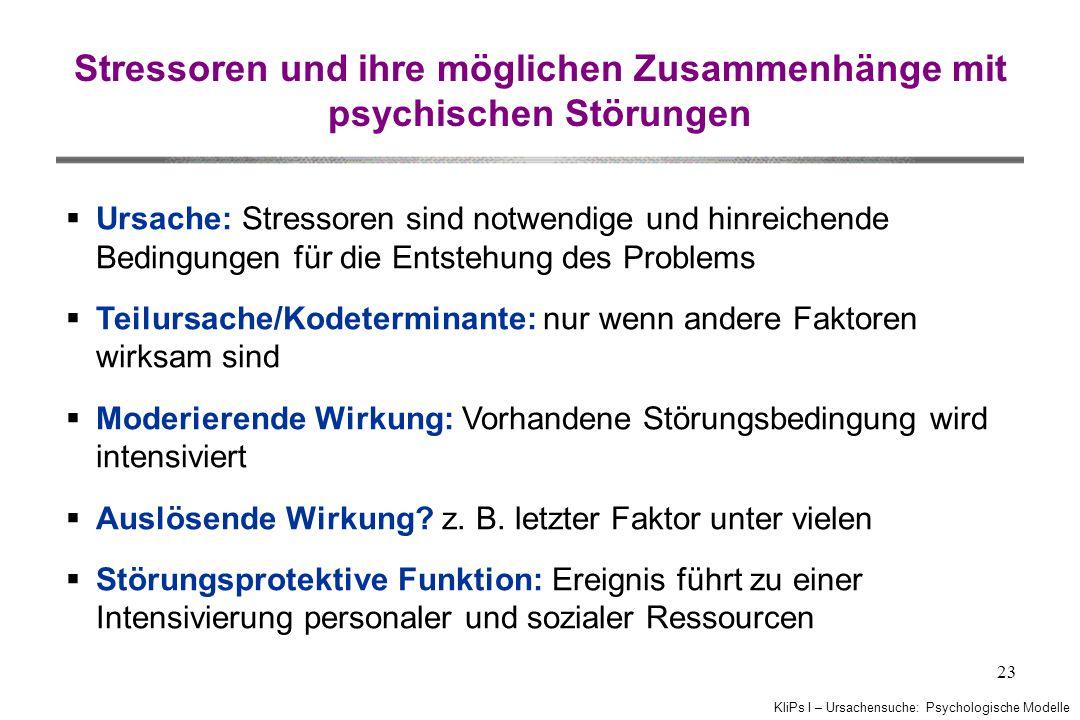 Stressoren und ihre möglichen Zusammenhänge mit psychischen Störungen