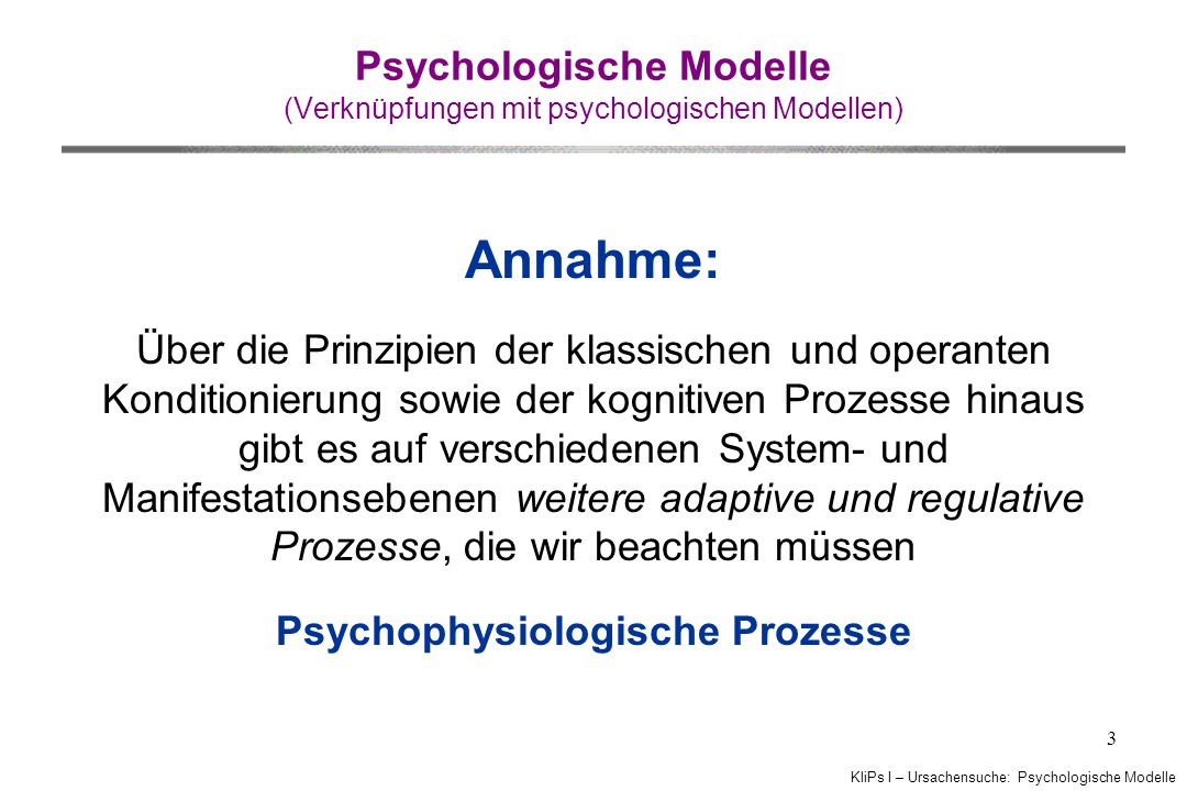Psychologische Modelle (Verknüpfungen mit psychologischen Modellen)