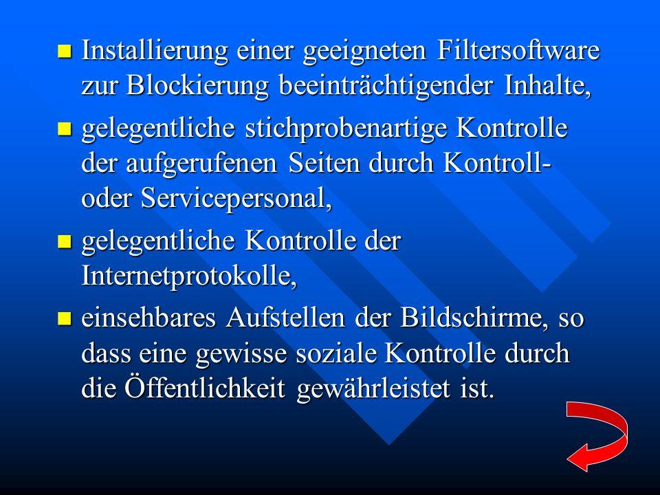 Installierung einer geeigneten Filtersoftware zur Blockierung beeinträchtigender Inhalte,