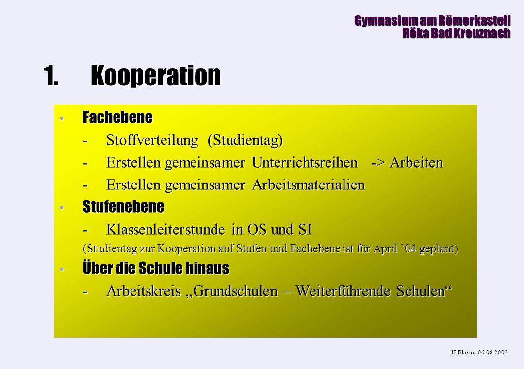 Kooperation Fachebene Stoffverteilung (Studientag)
