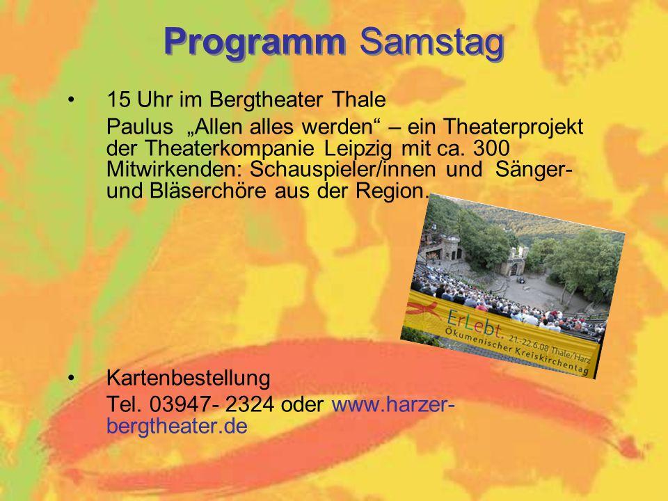 Programm Samstag 15 Uhr im Bergtheater Thale