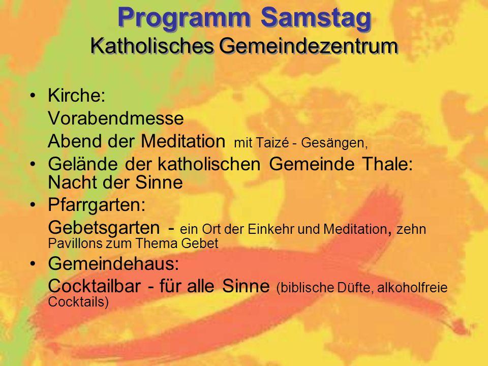Programm Samstag Katholisches Gemeindezentrum