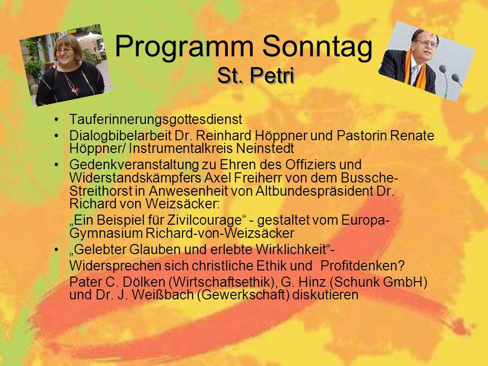 Programm Sonntag St. Petri Tauferinnerungsgottesdienst