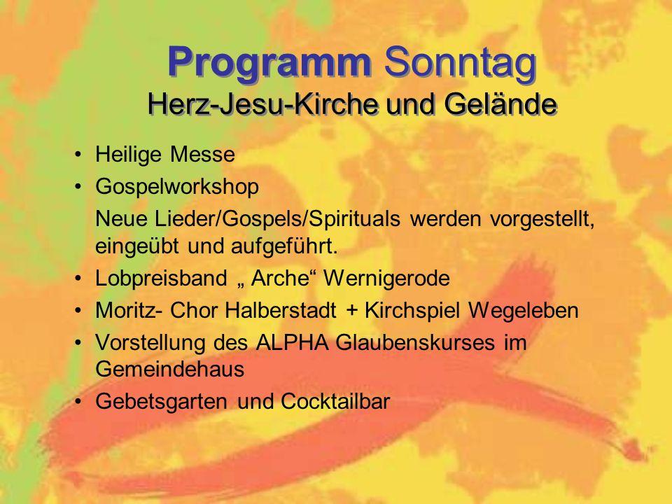 Programm Sonntag Herz-Jesu-Kirche und Gelände