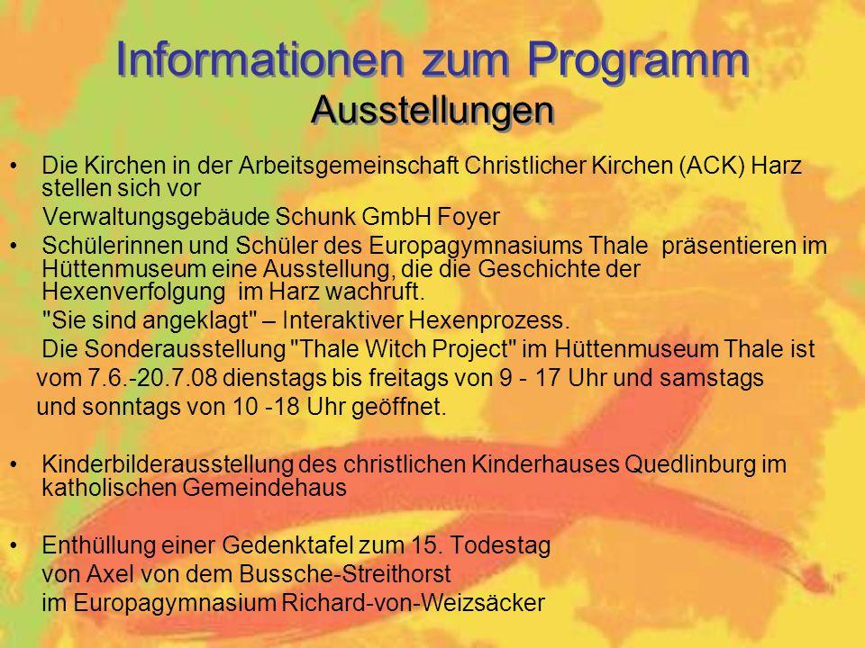 Informationen zum Programm Ausstellungen