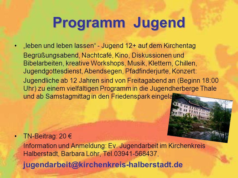 Programm Jugend jugendarbeit@kirchenkreis-halberstadt.de