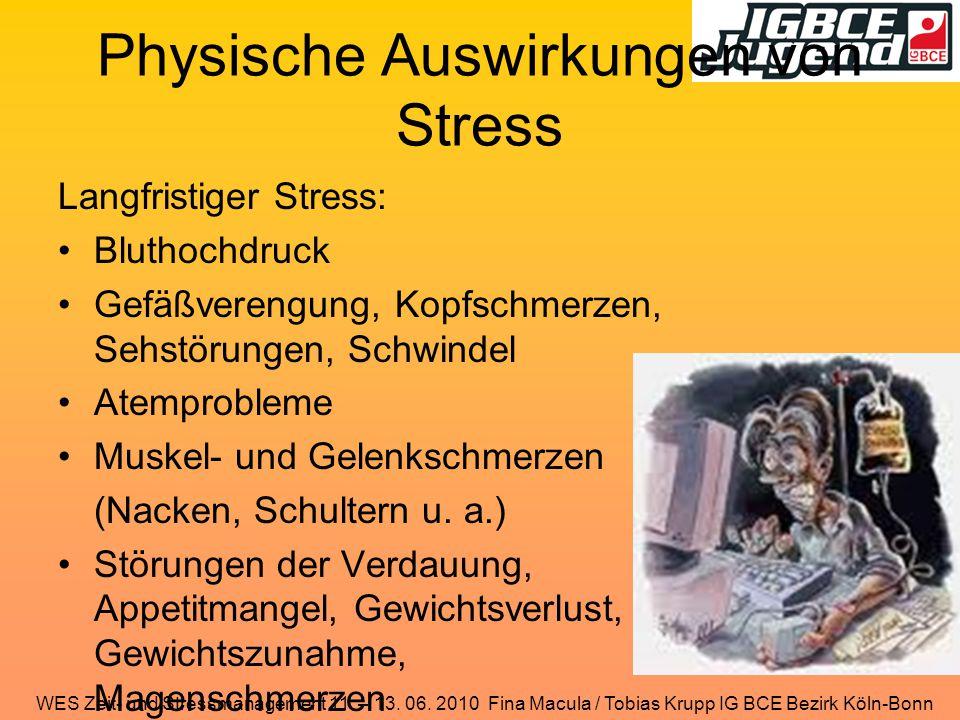 Physische Auswirkungen von Stress